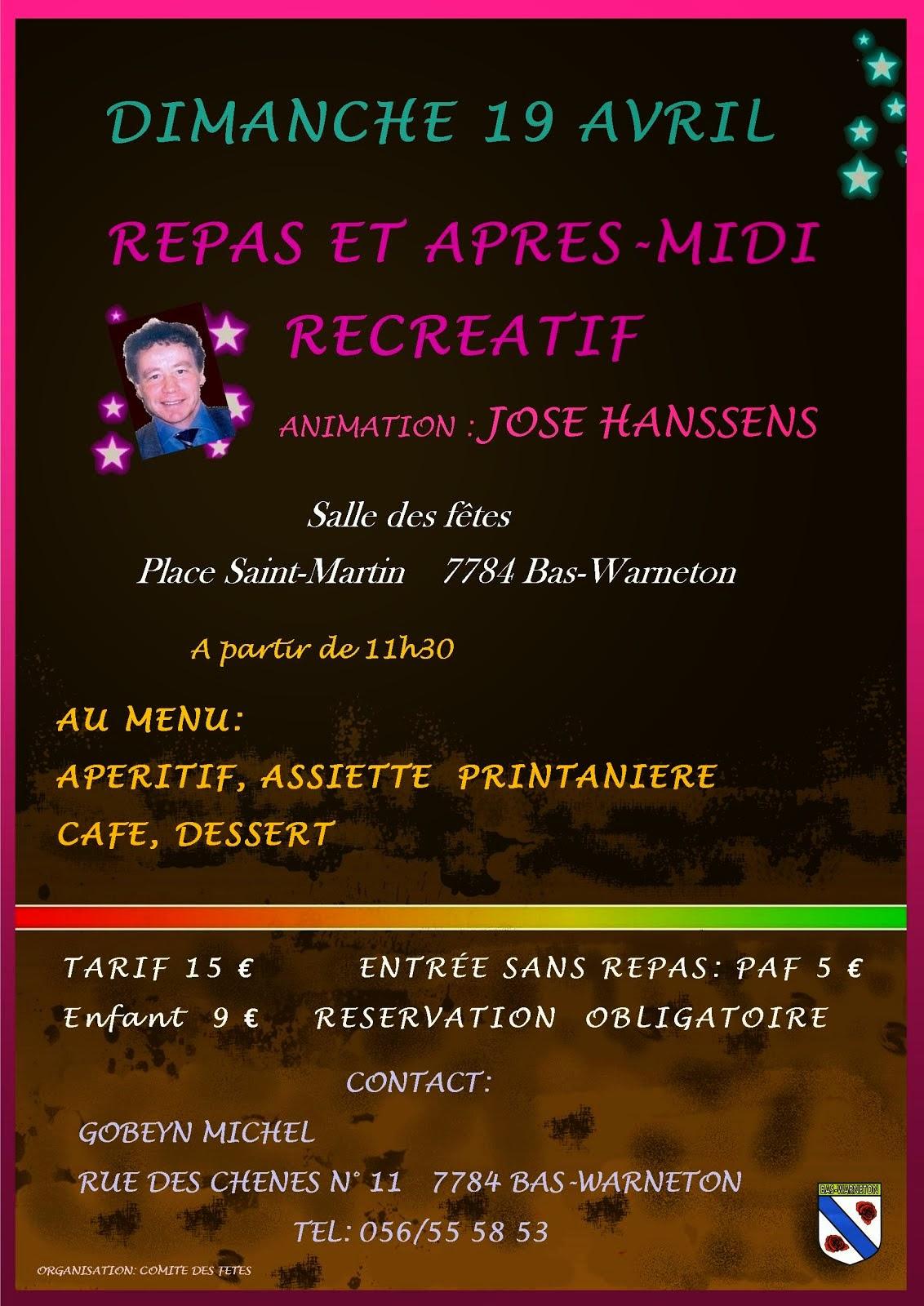 19 AVRIL BAS-WARNETON REPAS DES 11 HEURES ET APRES-MIDI RECREATIF