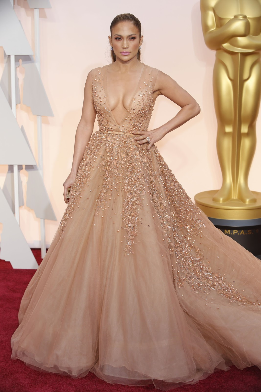 Jennifer Lopez in Elie Saab at the Oscars 2015