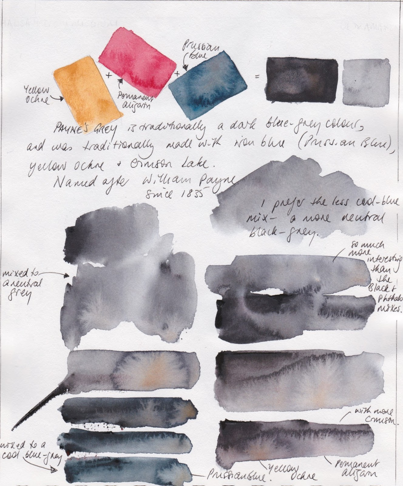 Jane blundell artist custom watercolour mixes a for How to mix grey paint