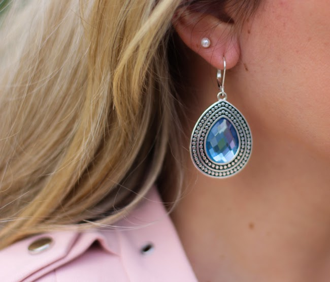 blue and metal hanging earrings from TJ Maxx