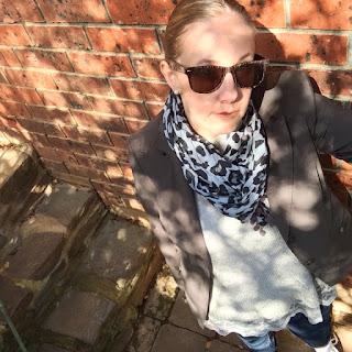 Cue blazer, leopard scarf, sunglasses