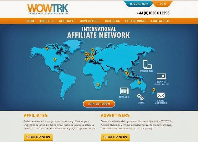 Affiliate Network WowTrk homepage