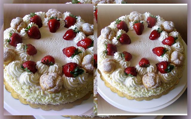 Le torte di deborah torta fragole e panna for Decorazioni torte con fragole e cioccolato
