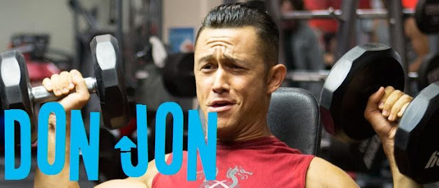Joseph Gordon Levitt lifting weights in Don Jon