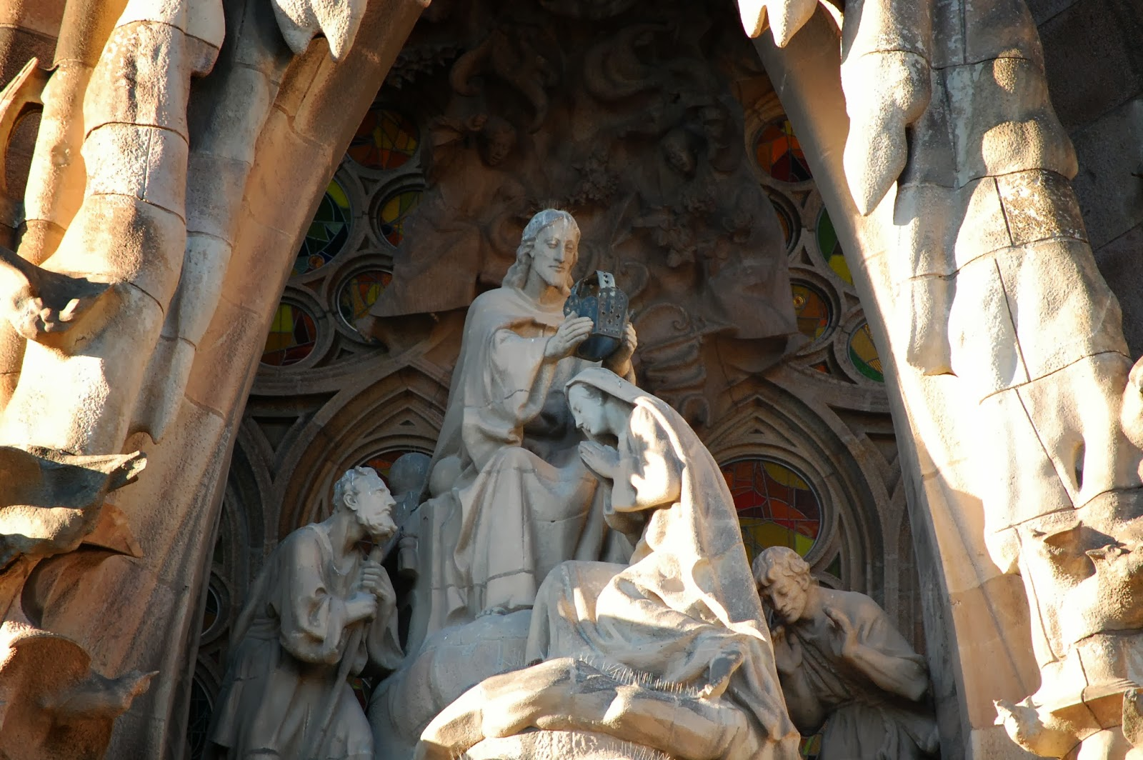 Coronation of Mary, carvings on Nativity Facade