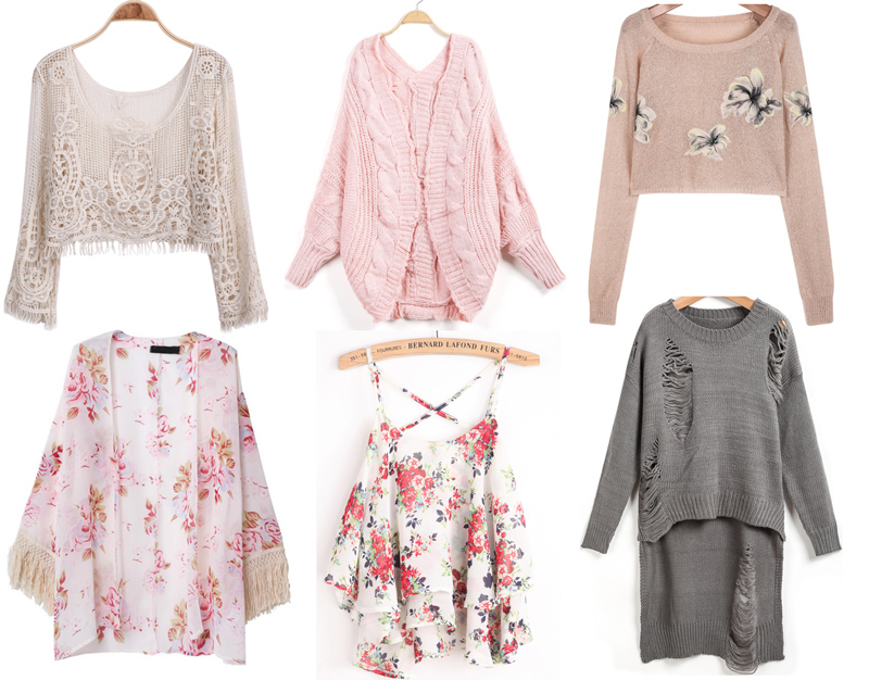 Lace crop tops, pink baggy cardigans, ripped sweaters, floral kimonos, and more from my SheInside spring wishlist.
