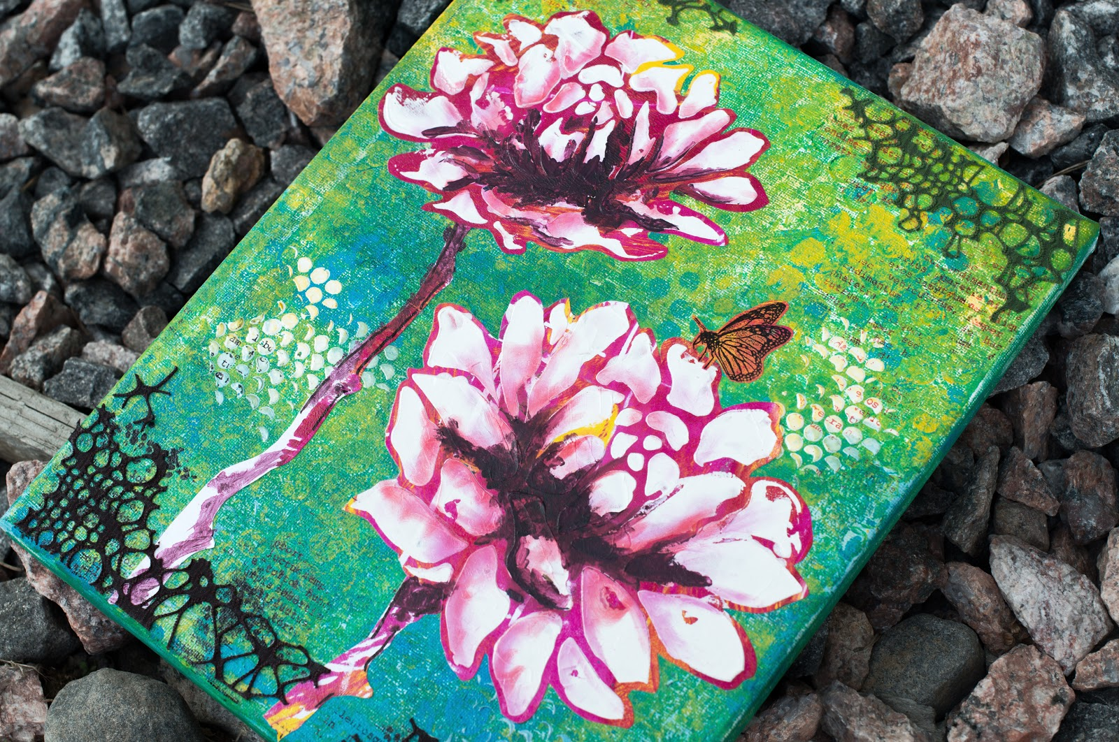 Blooming canvas; with gelli plate