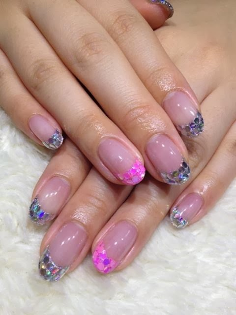 acrylic pink crystal sculpt with embedded sequins for the 'mermaid look'. Double gel topcoat to complete.LED polish manicure nail French Nails acrylic backfill LED polish  Pedicure Gel-Nails-Polish-LED