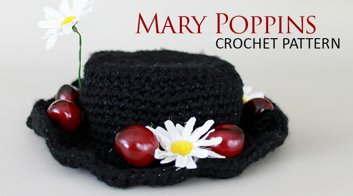 Crochet Pattern: Mary Poppins faux straw hat -- uses sparkle yarn for shine! Perfect for Halloween or cosplay. | The Inspired Wren