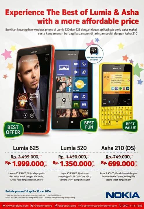Promo Nokia Asha 210 Dual SIM, Lumia 520 dan Lumia 625