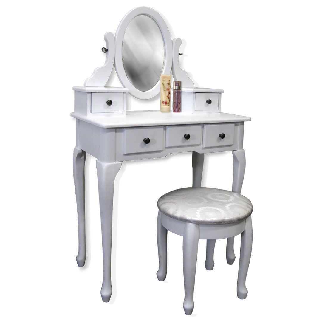 White Vanity Table Set Jewelry Armoire Makeup Desk Bench Drawer I Love Jewelry