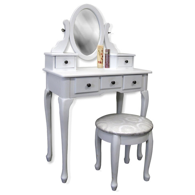 white vanity table set jewelry armoire makeup desk bench drawer i