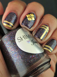 Shimmer Polish, Jacki, simple, glitter, glitter bomb, swatch, gold, purple, sripes, plaid, studs, square studs, nails, nail art, nail design, mani