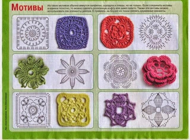 Flores y cuadros para tejer con ganchillo | Crochet y Dos agujas ...