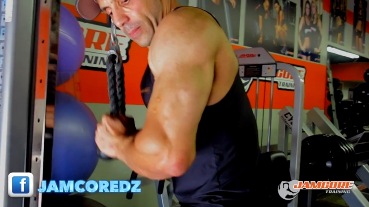 Traction triceps : 4 séries x 8 - 10