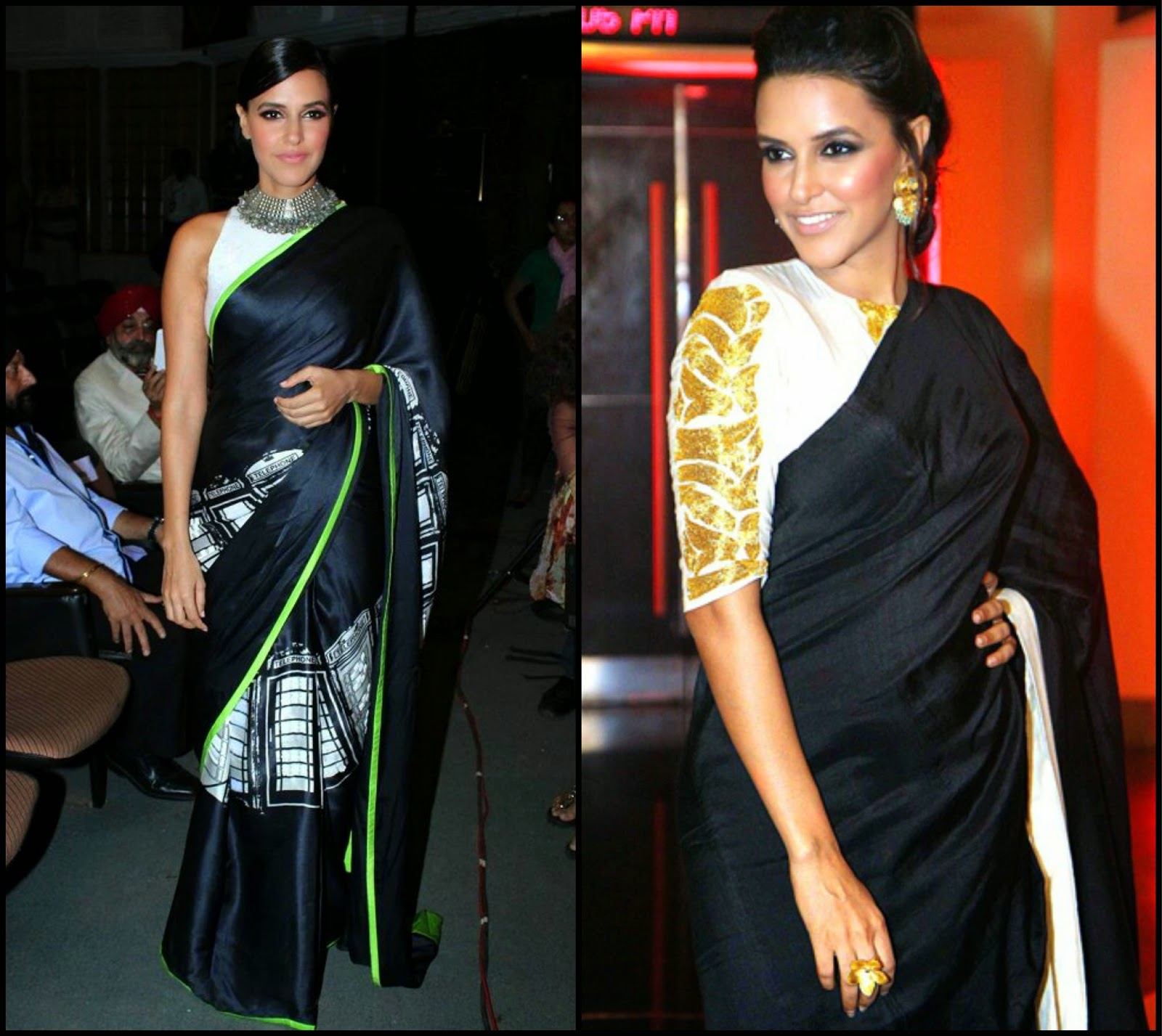 Neha Dhupia in Black saree by Masaba, Masaba sarees, black sarees