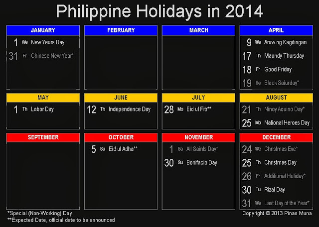 Official Philippine Holidays in 2014