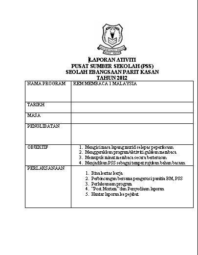 Format Laporan Aktiviti Program