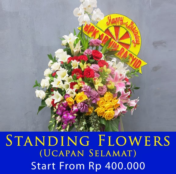 standing bunga ucapan selamat & sukses, happy wedding