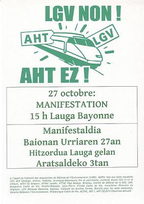 contre la LGV ! Manifestation le 27 octobre à Bayonne