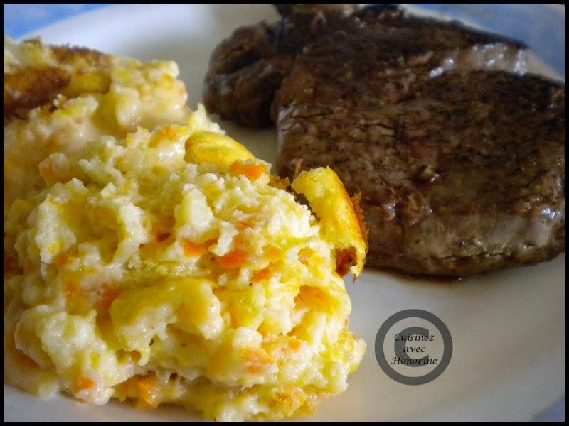 Soufflé à la pomme de terre et carottes, accompagné d'un tournedos