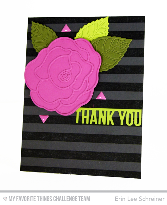 Bold Floral Thank You Card by Erin Lee Schreiner featuring the Rose with Overlay, Layered Leaves, and Arrow Greetings Die-namics #mftstamps