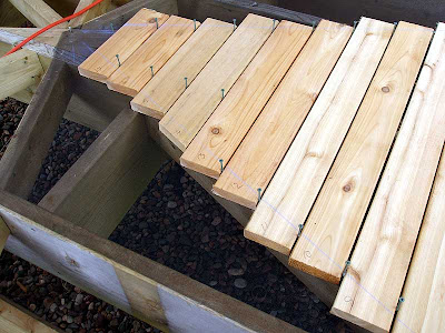 The boards were numbered and angles marked before being removed and trimmed to their final length.