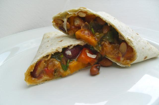Sweet Potato, Roasted Veggie and Bean Burritos (Vegetarian) recipe