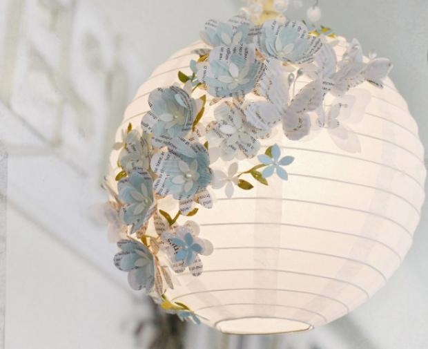 ABES-SP  Aprenda a decorar uma luminária com flores e borboletas de ... b70749eb252