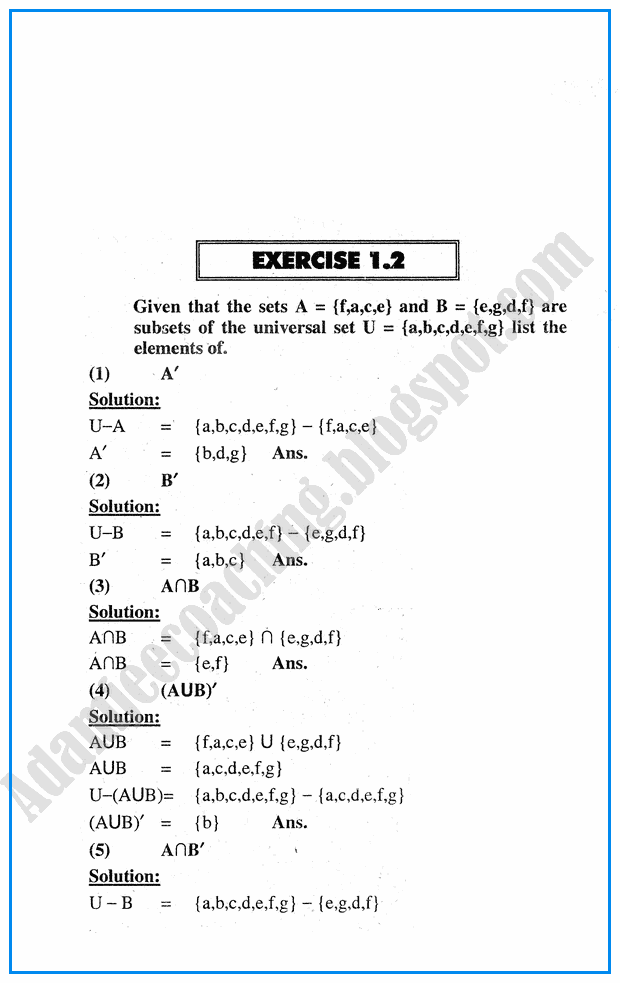 Adamjee Coaching: Exercise 1.2 - Sets - Mathematics Notes for Class 10th