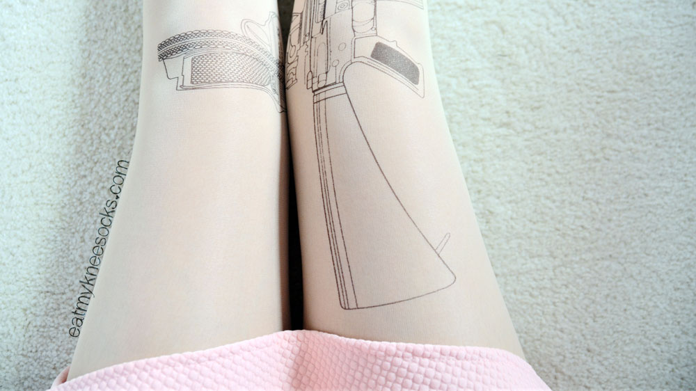 The gun tights from Brave Store feature a Harajuku tattoo-style gun print on both legs.
