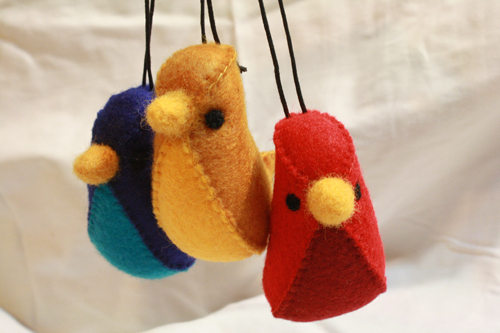 DIY pajaritos de fieltro, felt birds
