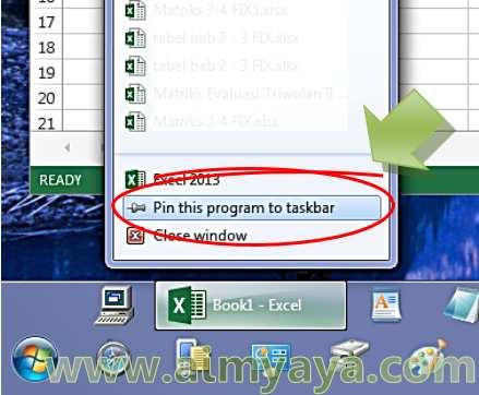 Gambar: Menambahkan tombol Microsoft Excel pada taskbar Windows 7