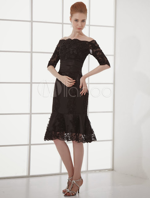 Cocktail Dress Black Mermaid Beading Half Sleeves Organza Cocktail Dress