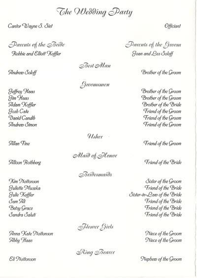 Wedding collection nowadays wedding programs examples for Sample wedding programs templates