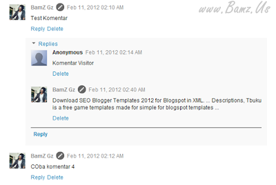 Aktifkan Threaded Comments Blogger