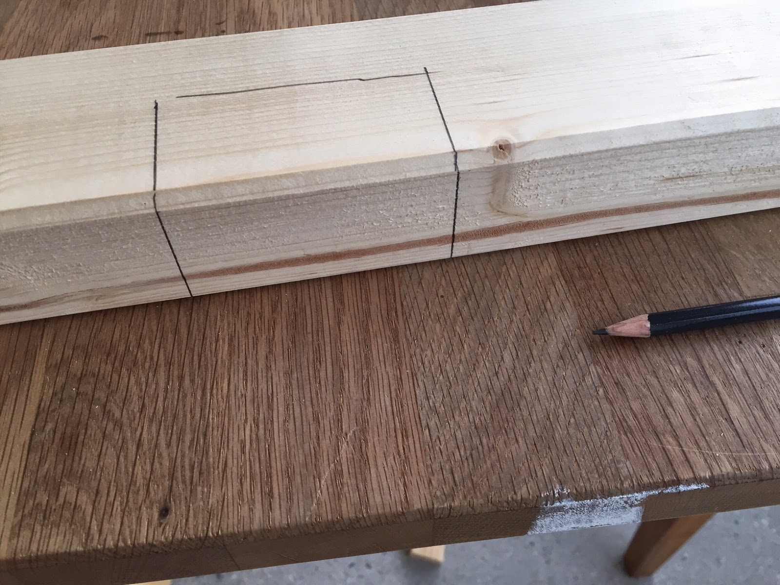 The Trickiest Part Is To Decide On How To Connect The Table Top  Horizontally. I Decided On Using Cross Beams And Hand Cut Two Notches Each.