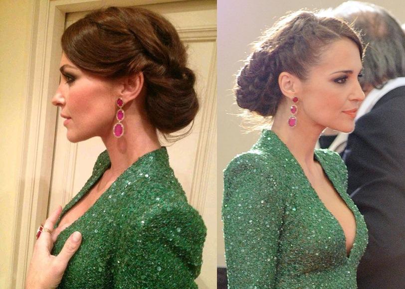 Vestido verde y maquillaje