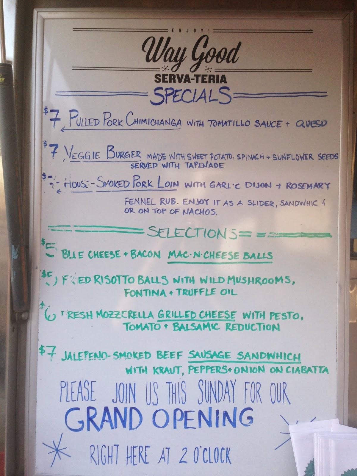 Way Good Serva-Teria Food Truck, Houston TX - Specials Menu