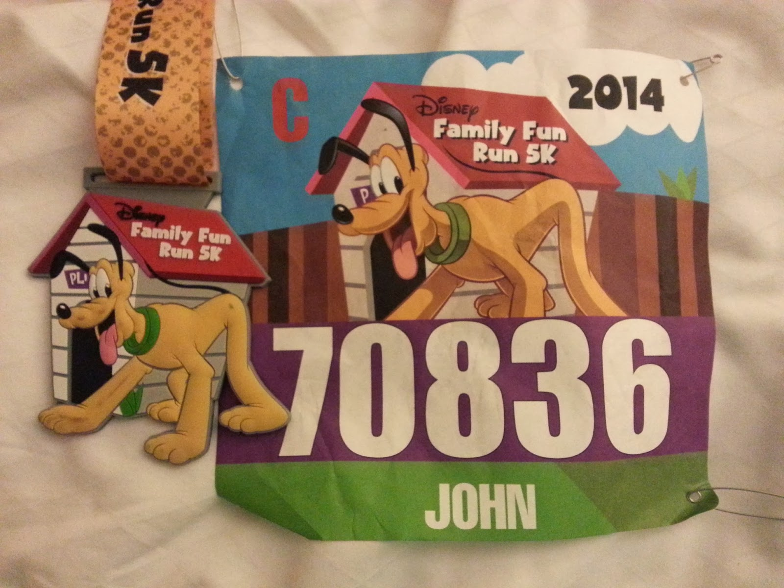 5K medal and bib.
