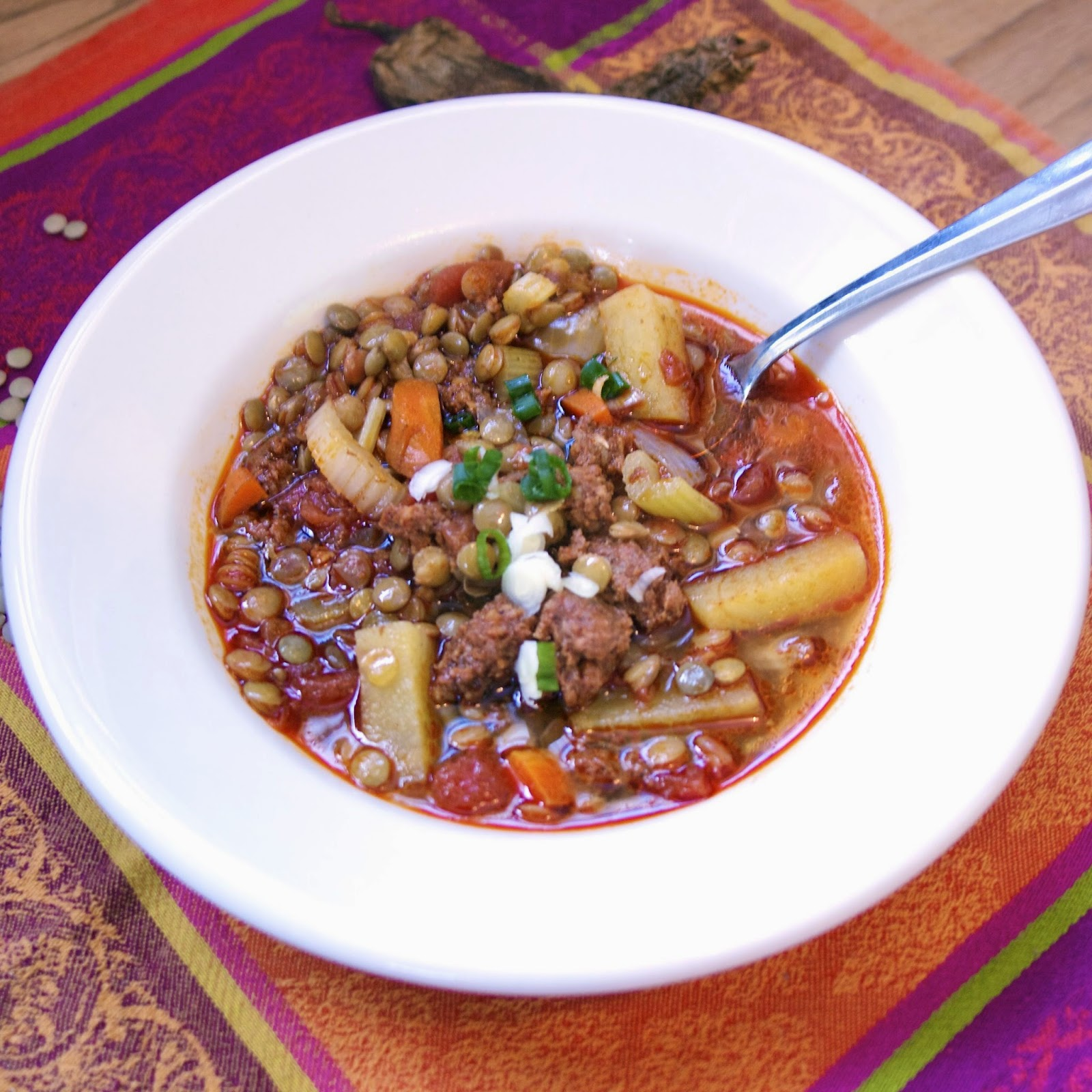Slow Cooker Mexican Lentil Stew with Chorizo: simplelivingeating.com