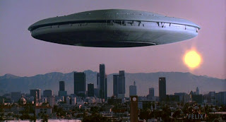 V UFO hovers over city