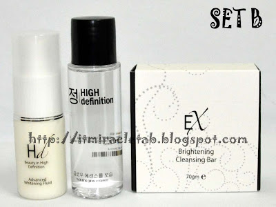 HD Advanced Whitening Fluid + HD Glow Essence + Tab Soap