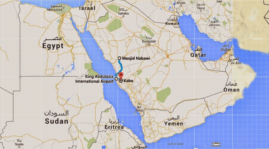 Peta Kabah, Masjidil Haram, Masjid Nabawi, dan Saudi Arabia