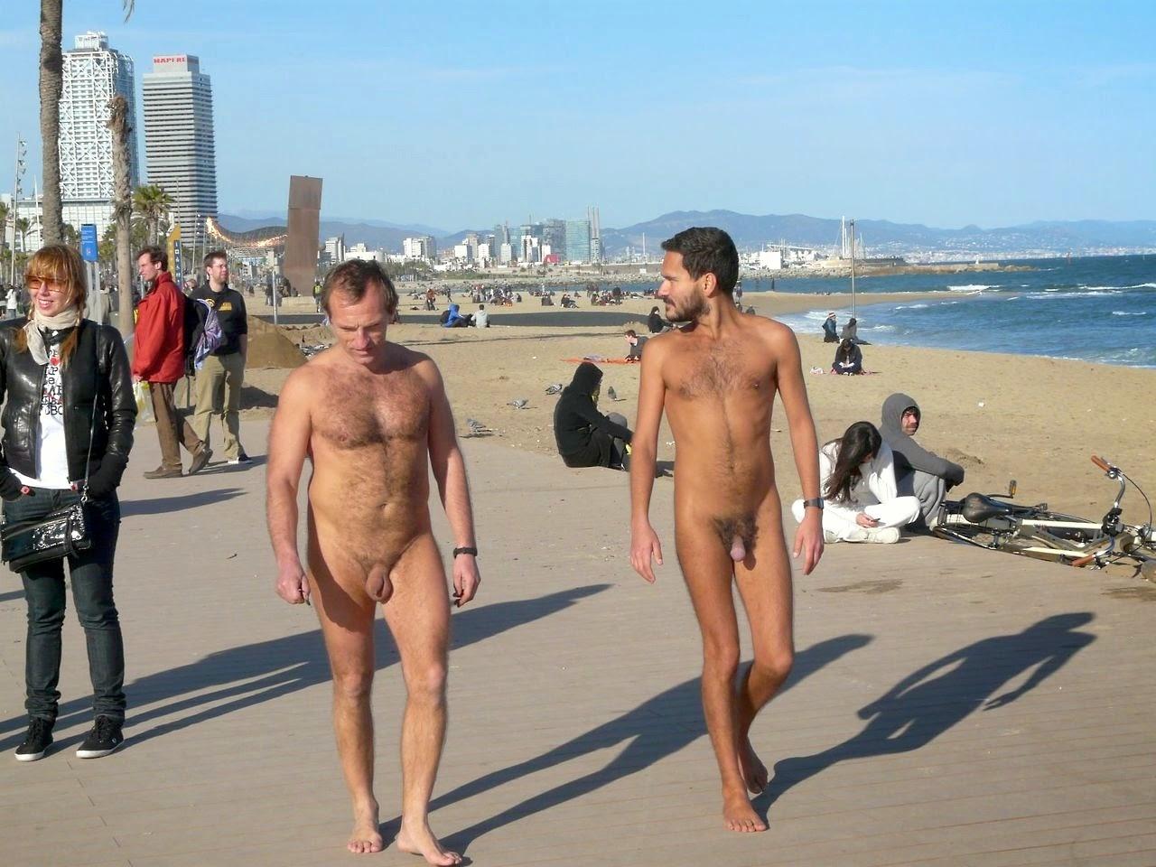 naked girls on beach of barcelona