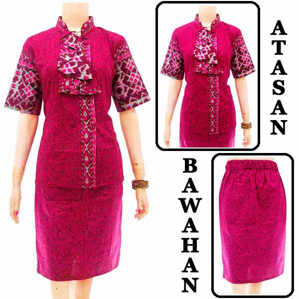 DB3735 Model Baju Dress Batik Modern Terbaru 2014