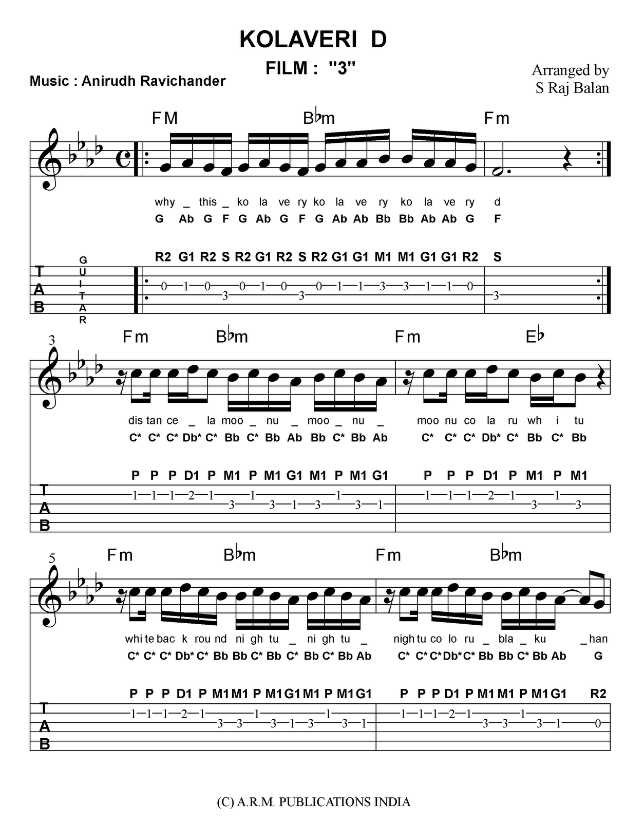 Guitar Music Sheets For Hindi Songs - song lyrics with guitar chords for indian summer tommy ...