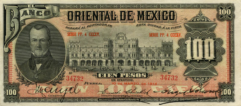 Banca Oriental De Pr:100 Pesos Mexico Currency