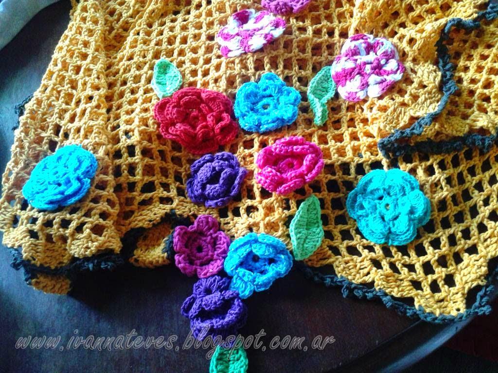 Cortinas De Baño Tejidas Al Crochet:Cortina en amarillo maiz, con cascada de flores, puntilla en crochet y
