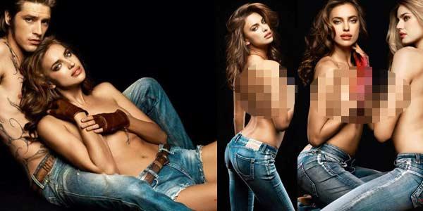 Foto Seksi Irina Shayk Pose di Pangkuan Pria lain